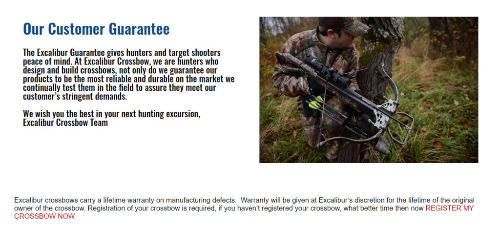 Excalibur Crossbows warranty page screenshot